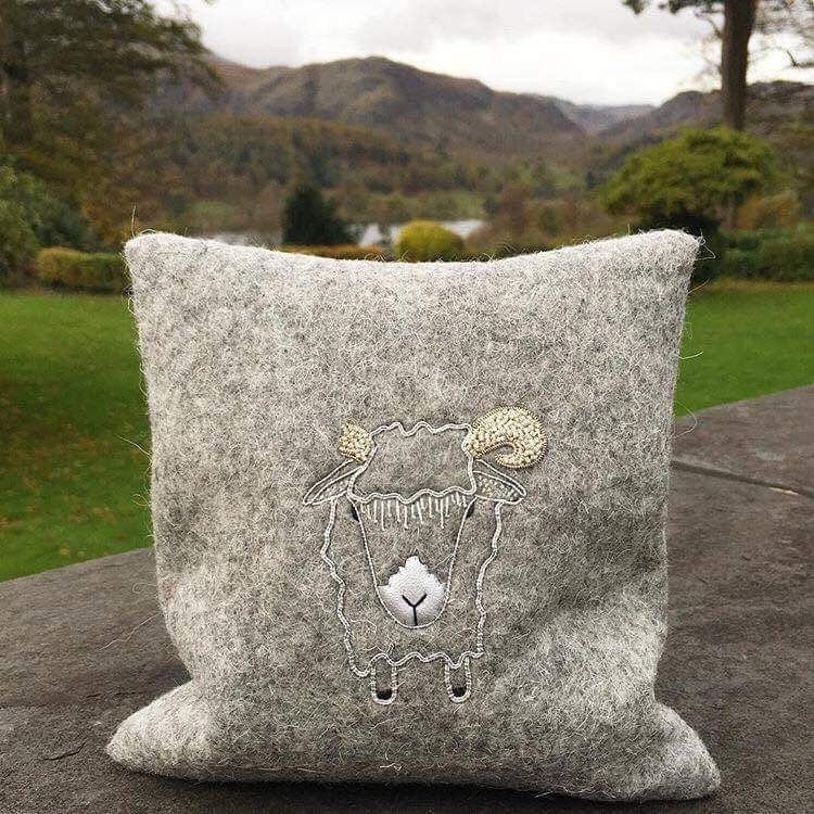 RSN @ Lancaster 'Silver' Gold Work Sheep on local fabric