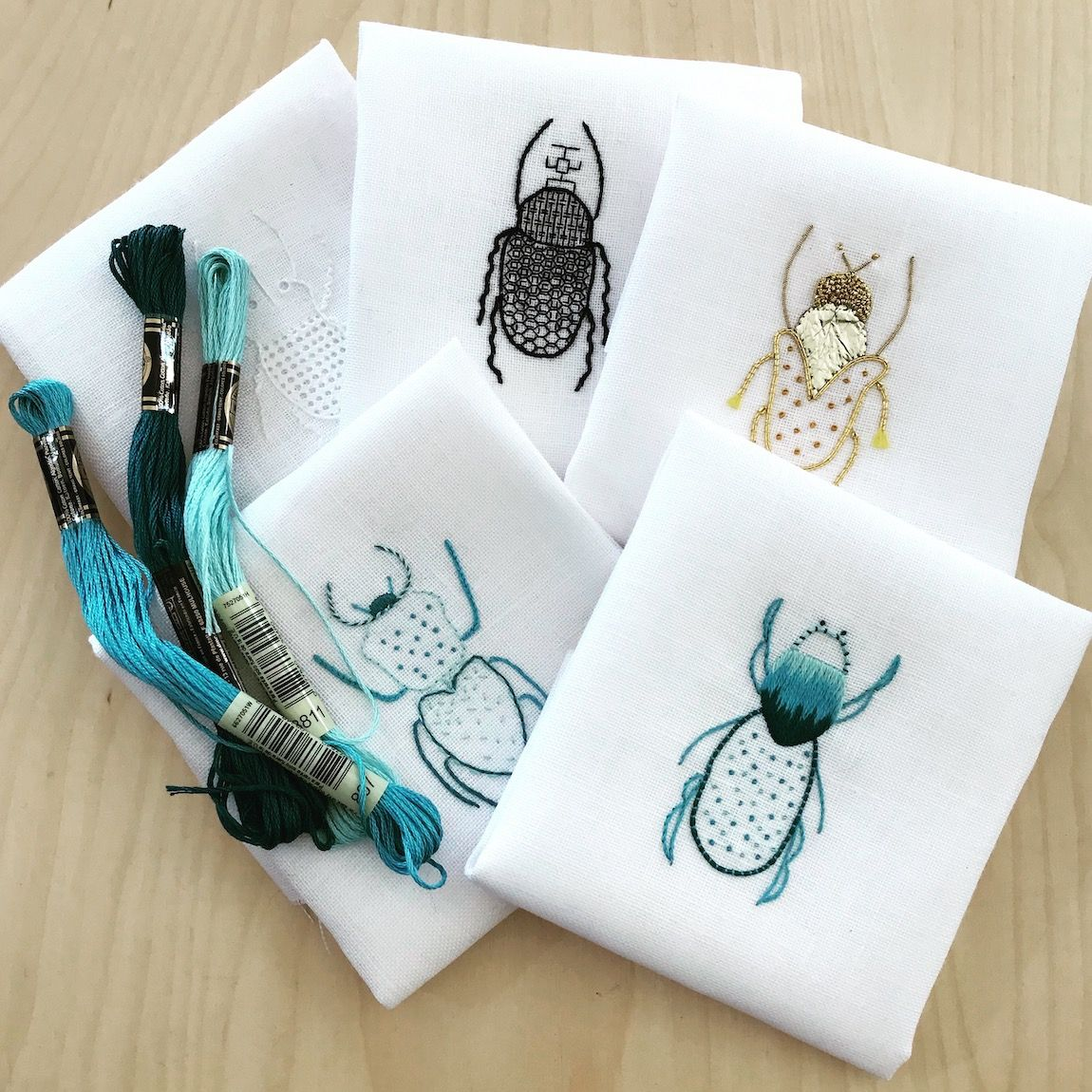 Hand Embroidered Beetles