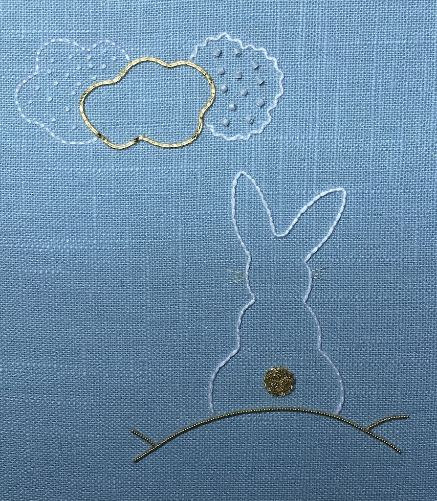 White and Gold Bunny - Introduction to Embroidery