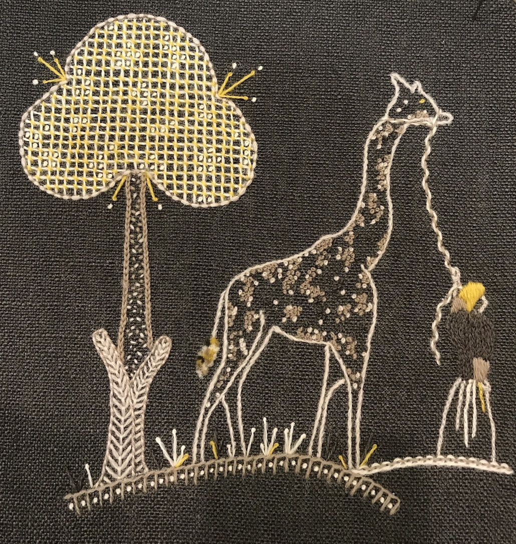 Jacobean Crewelwork Giraffe Cushion