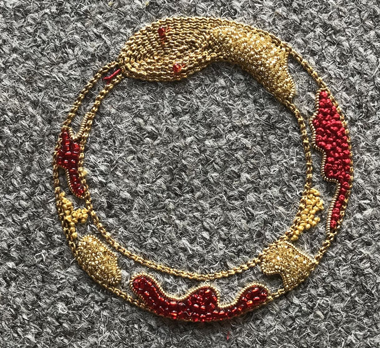 Gold Work snake Brooch